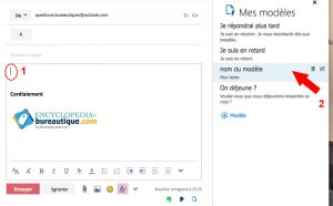 Inserer un modèle dans un mail outlook