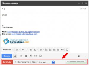 Bouton Send Later Gmail