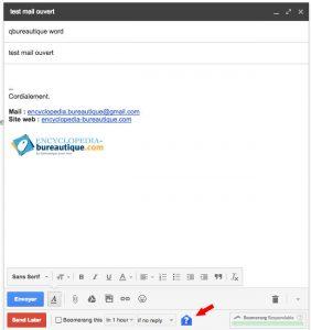 Cliquez sur l'enveloppe pour insérer un accusé de réception email