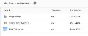 Dossier partager google drive