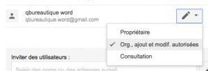 Droits de partage d'un dossier google drive