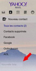 nouvelle liste de contacts Yahoomail