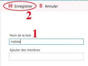 Créer liste de contacts outlook