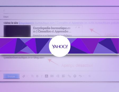 Supprimer/désactiver l'aperçu d'un site web dans yahooMail