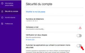Application sécurité du compte yahoo