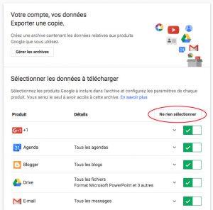 Sélection des produits Google pour les archiver