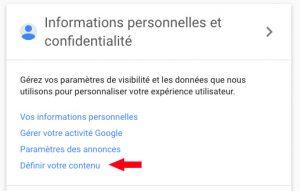Gérer le contenu du compte google