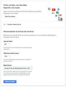 Paramètres d'exportation de l'archives google