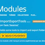 ajouter le module importexportools sous Thunderbird