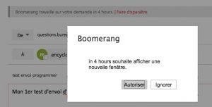 Programmer l'envoi d'un mail avec Outlook et Boomerang
