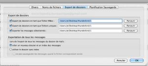 Options d'exportations des emails