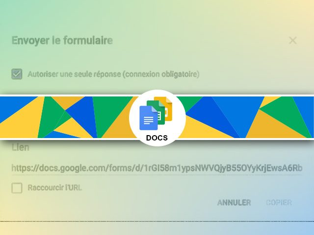 Sondage Google form : Paramètres de publication et diffusion
