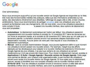 Message de migration de Google calendar en févrirer 2018