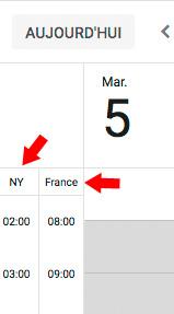 2 fuseaux horaires dans google agenda