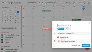créer un événement dans Google Agenda