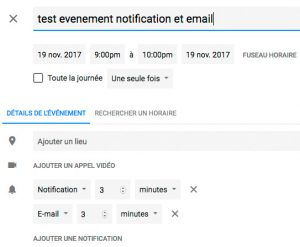 Programmer des notifications sous agenda