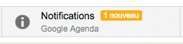 Onglet notification dans gmail. Réception de l'email de l'événement