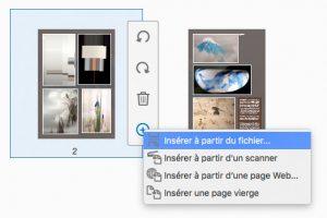 Menu insérer à partir d'un fichier pour importer de nouvelles pages dans un fichier pdf