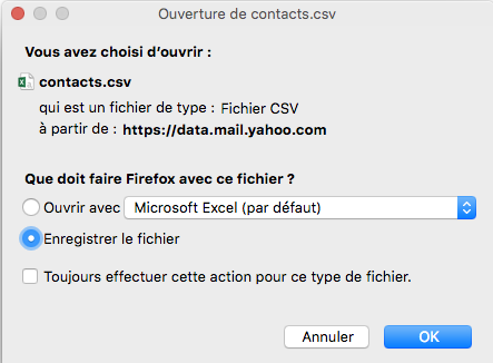 Enregistrer les contacts yahoo mail