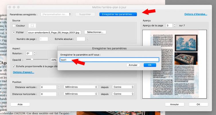 Sauvegarder les paramètres d'arrière plan d'un pdf.
