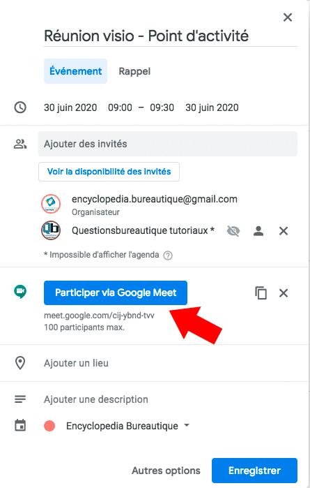Créer une réunion Google meet dans Google Agenda