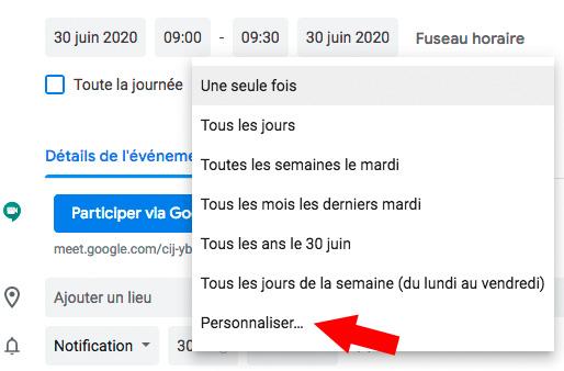Choisir la fréquence de la visioconférence google Meet