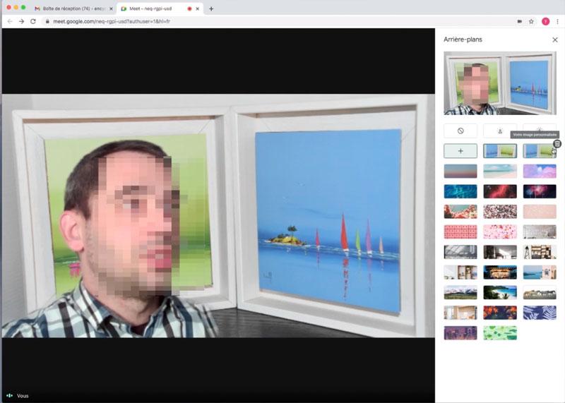 Image d'arrière plan personnalisée sous google meet