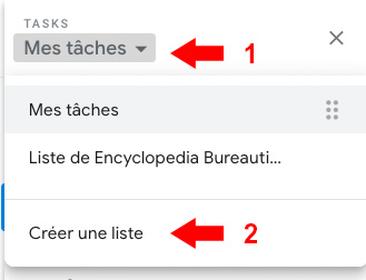 Créer une liste de tache sous Tasks