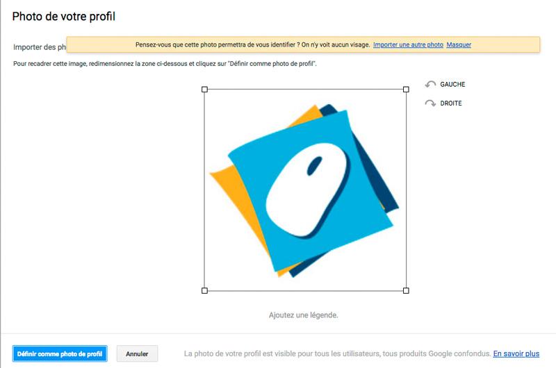 Cadrer l'image de profil dans la zone utile