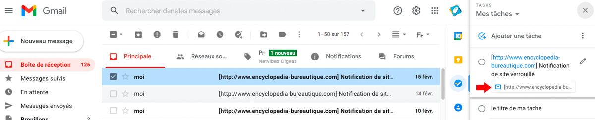 Tache associée à un mail