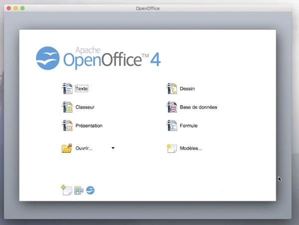 Écran de lancement des modules d'OpenOffice 4