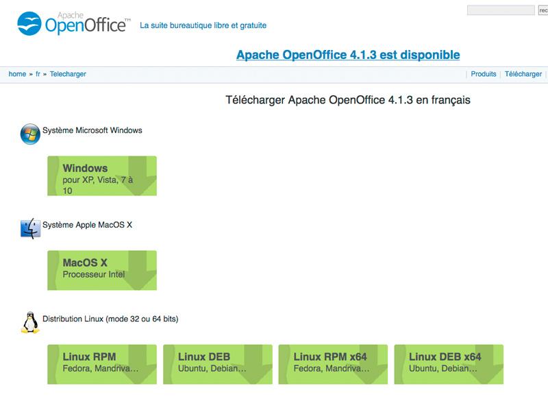 Téléchargez la version d'Open Office qui correspond à votre ordinateur