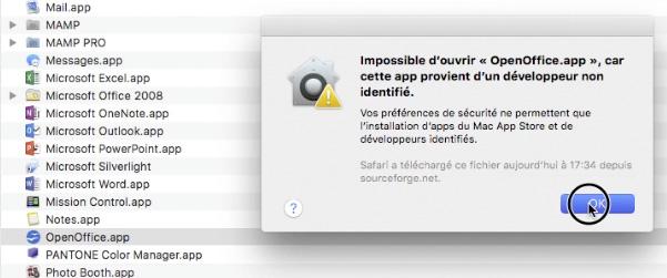 Validez l'installation d'OpenOffice