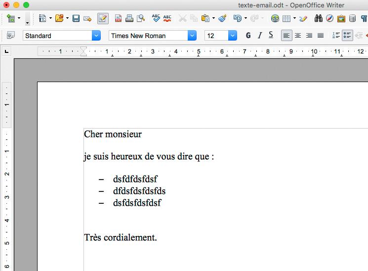 Rédiger le texte de votre mail modèle avec Write