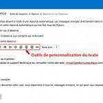 Outils de personnalisation du texte du message d'absence