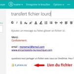 Lien du fichier stocké sur One drive dans un email