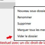 menu contextuel d'un dossier sous outlook