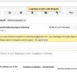 Message d'alerte, l'email est bloqué